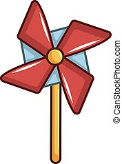 Pinwheel toy icon, cartoon style - Pinwheel toy icon....