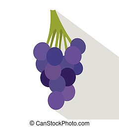 Bunch of blue grapes icon, flat style