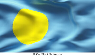 Creased PALAU flag in wind - Highly detailed flag with...