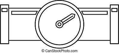 Pipe with water meter icon, outline style - Pipe with water...