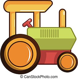 Colorful tractor toy icon, cartoon style - Colorful tractor...
