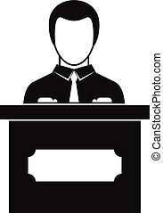 Businessman giving presentation icon, simple style