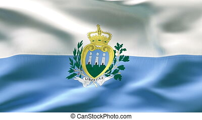Creased SAN MARINO flag in wind - Highly detailed flag with...