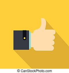 Thumb up gesture icon, flat style - Thumb up gesture icon....