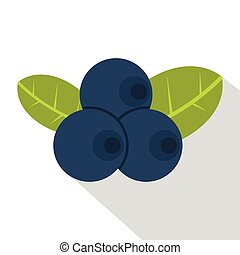 Fresh blueberries with leaves icon, flat style - Fresh...