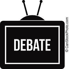 TV with the Debate inscription icon, simple style