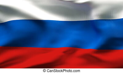 Creased RUSSIA flag in wind - Highly detailed flag with...