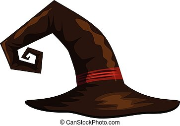 Witch hat icon, cartoon style