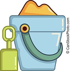 Bucket and shovel for children sandbox icon. Cartoon...