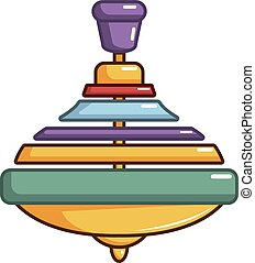 Colorful spinning top icon, cartoon style