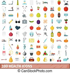 100 health icons set, flat style - 100 health icons set in...