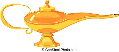 Middle east oil lamp icon, cartoon style - Middle east oil...