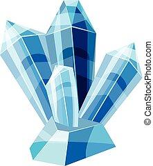 Blue crystals icon, cartoon style - Blue crystals icon....