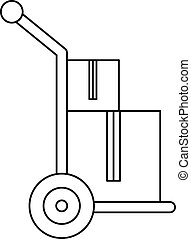 Handle truck with boxes icon, outline style