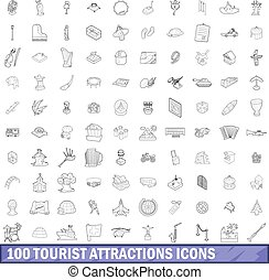 100 tourist attractions icons set, outline style - 100...