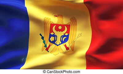 Creased MOLDOVA flag in wind - Highly detailed flag with...