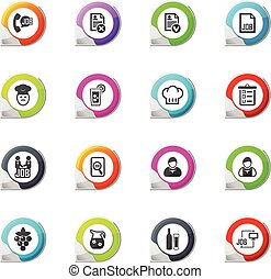 Job icons set - Job pointer on the color icons for your...