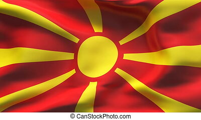Creased MACEDONIA flag in wind - Highly detailed flag with...