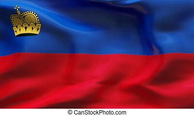 Creased LICHTENSTEIN flag in wind - Highly detailed flag...