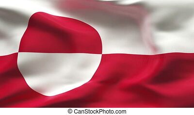 Creased GREENLAND flag in wind - Highly detiled flag with...