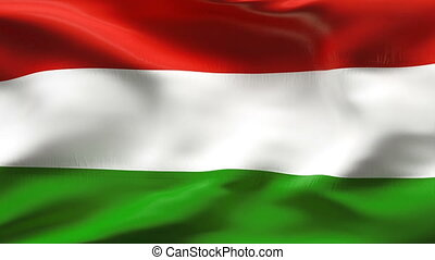 Creased HUNGARY flag in wind - Highly detiled flag with...