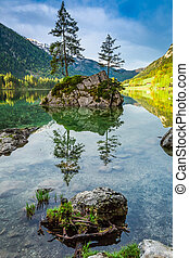 Summer sunrise at Hintersee lake in Alps, Germany, Europe