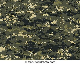 Dark green pixels camouflage - Vector texture of dark green...