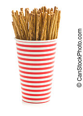 Salty pretzel sticks. - Salty pretzel sticks in paper cup...