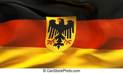 Creased GERMAN flag in wind