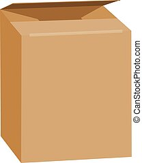 Opened brown rectangle box mockup, realistic style - Opened...