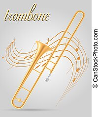trombone wind musical instruments stock vector illustration...