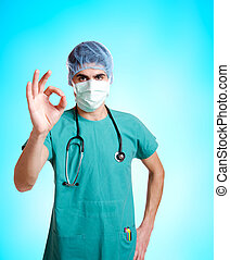 Smiling medical doctor with stethoscope