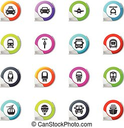 Public transport icons set - Public transport pointer on the...