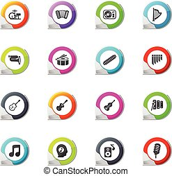 Music icons set - Music pointer on the color icons for your...
