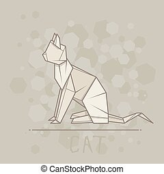 Vector illustration paper origami of cat. - Vector simple...