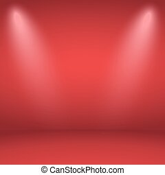Empty red studio room background with two spotlight