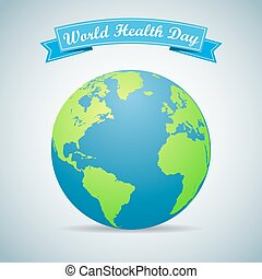 Earth globe with ribbon. World Health Day