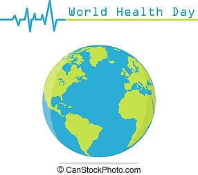 Earth globe with heartbeat in a flat design. World Health Day