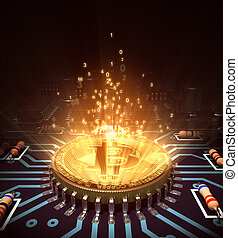Concept Of Bitcoin Like A Computer Processor With Magic...