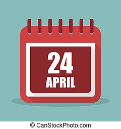 Calendar with 24 april in a flat design. Vector illustration