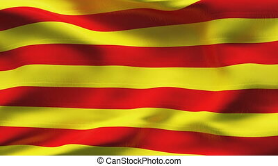 Creased CATALONIA flag in wind - Highly detiled flag with...