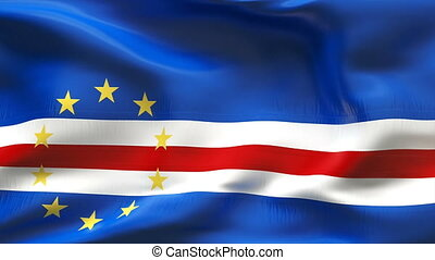 Creased CAPE VERDE flag in wind - Highly detiled flag with...