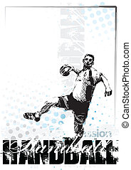 handball poster - sketching of the handball player