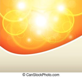 Orange natural background, sunny with bokeh, vector...