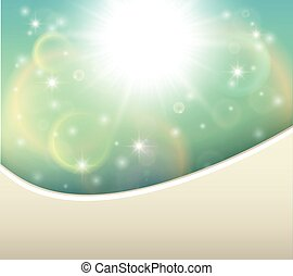 Sunny natural background, sun burst and blue sky, vector...