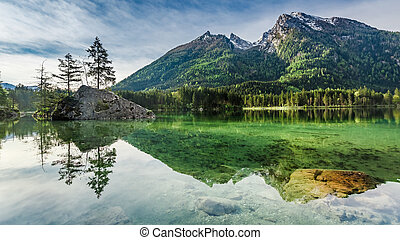 Breathtaking sunrise at Hintersee lake in Alps, Germany, Europe
