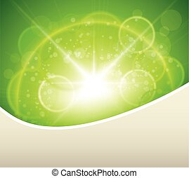 Green natural background, sunny with bokeh, vector...