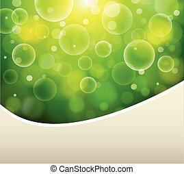 Green natural background, sunny with bokeh,  illustration
