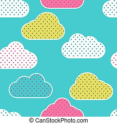 Seamless pattern with colorful clouds silhouettes on green background. Clouds in polka dots