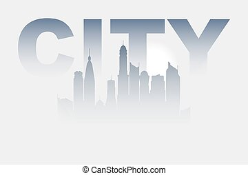 City in a fog. Light-grey color and sunrise